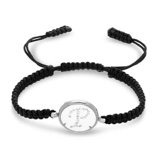 Imagen de Sterling Silver Crystal Intial P Disc Black Cord Adjustable Bracelet