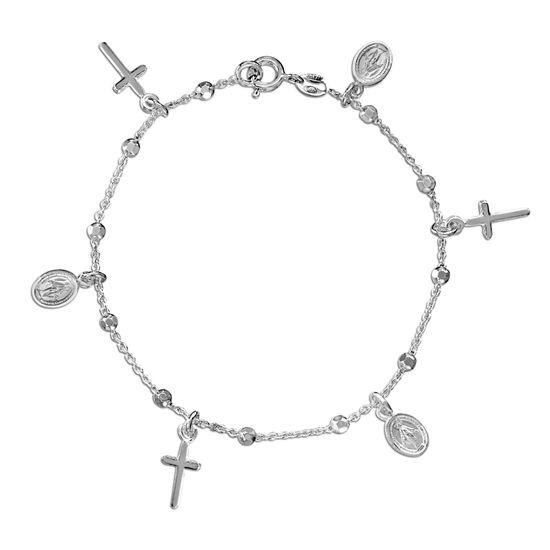 Imagen de Sterling Silver Diamond Cut Milagrosa and Cross Charm Bracelet