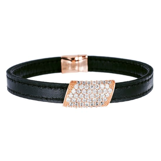 Imagen de Sterling Silver CZ Geo Shaped Charm Black Leather Bracelet
