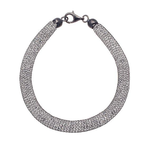 Imagen de Sterling Silver Black Onyx Cubic Zirconia Filled Mesh 7.5 Bracelet
