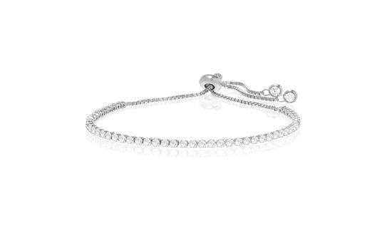 Imagen de Sterling Silver Cubic Zirconia 6+2 Box Chain Adjustable Slider Tennis Bracelet