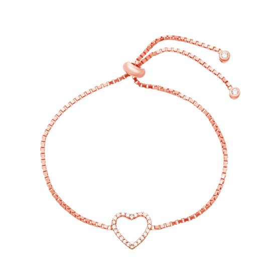 Imagen de Sterling Silver Diamond Heart Cubic Zirconia Adjustable Slider Bracelet