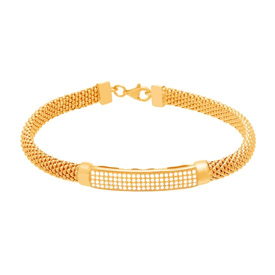 Imagen de Sterling Silver Cubic Zirconia Curved Bar Popcorn Bracelet