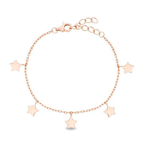 Imagen de Sterling Silver Dangling Stars Station Cable Chain Bracelet