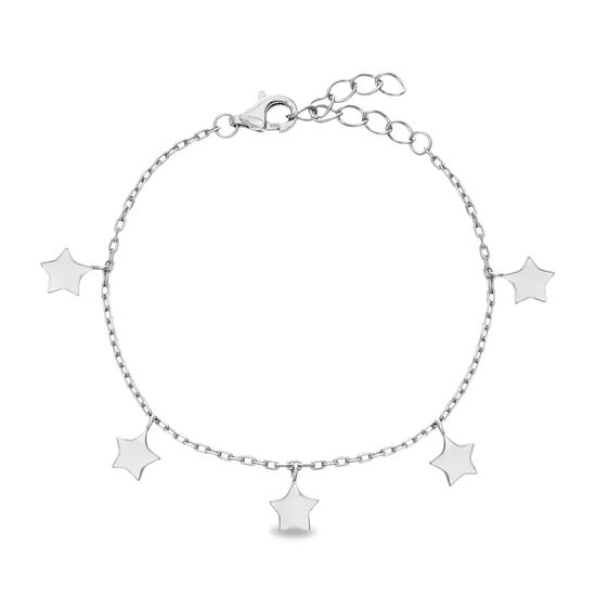 Imagen de STERLING SILVER RHODIUM DANGLING STARS ON 5+1 CABLE CHAIN KIDS BRACELET