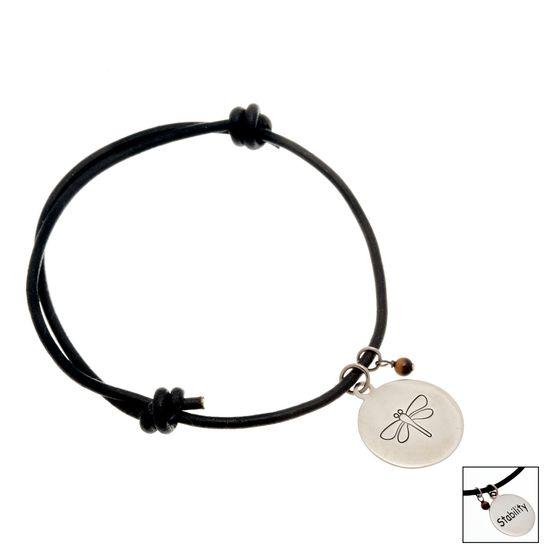 Imagen de Sterling Silver Round Inspirational Charm 7.5 Brown Leather Adjustable Bracelet