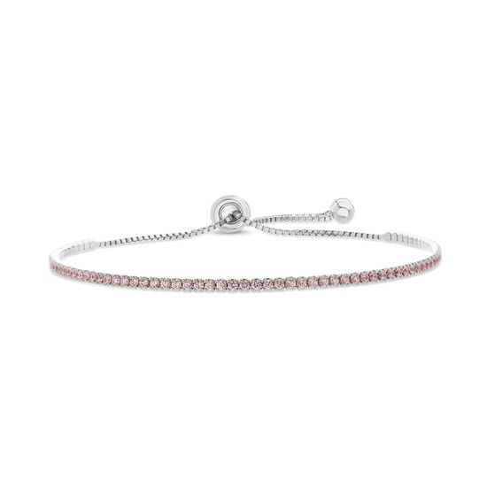 Picture of Sterling Silver Cubic Zirconia Box Chain Clear Tennis Slider Bracelet