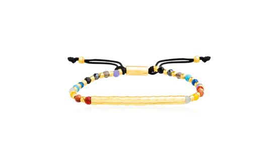 Imagen de Sterling Silver Polished Bar Multi-Color Bead 5+2 Slider Bracelet
