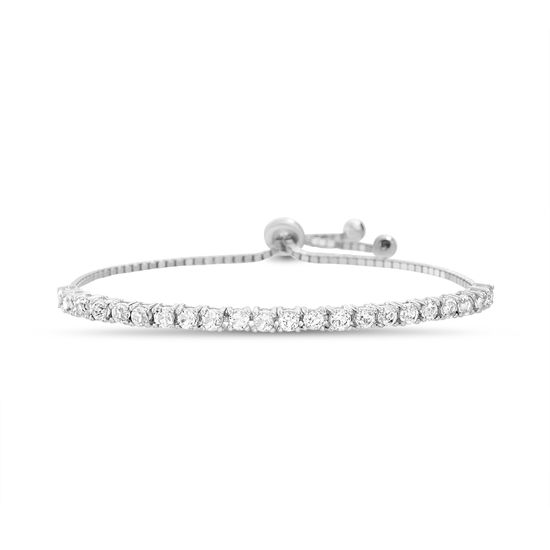 Imagen de STERLING SILVER RHODIUM WHITE SPPR TENNIS BOX CHAIN SLIDER BRACELET