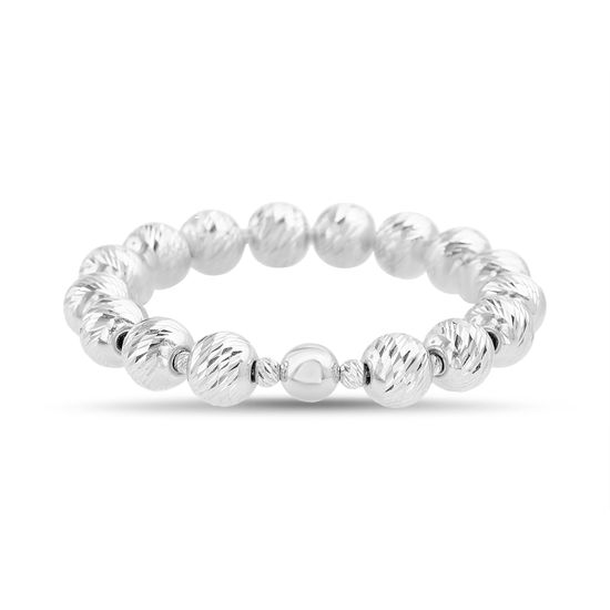 Imagen de Sterling Silver Textured Beaded Stretch Bracelet