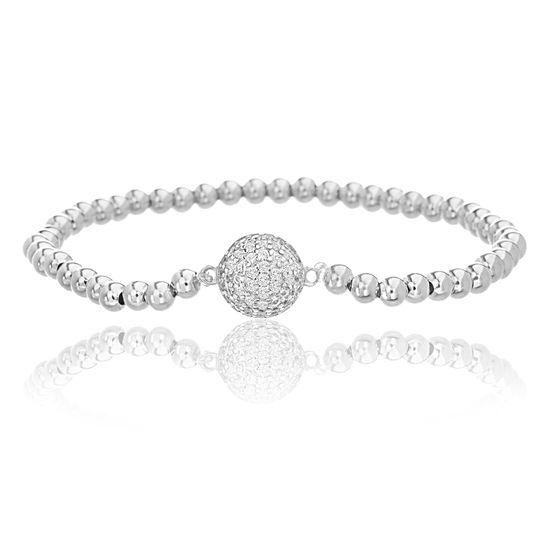 Imagen de Sterling Silver Cubic Zirconia Pave Circle Dome Station Beaded Stretch Bracelet