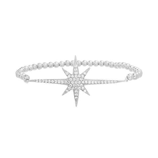 Imagen de Sterling Silver Cubic Zirconia Starburst Beaded Stretch Bracelet