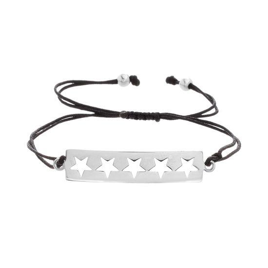 Imagen de Sterling Silver Star Cutout Station Black Adjustable Bracelet