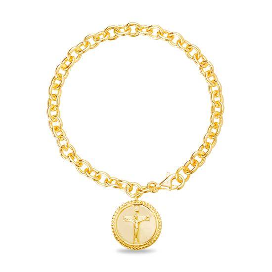 Imagen de Brass Crucifix Circle Rolo Chain New Testament My Nano Bible Bracelet