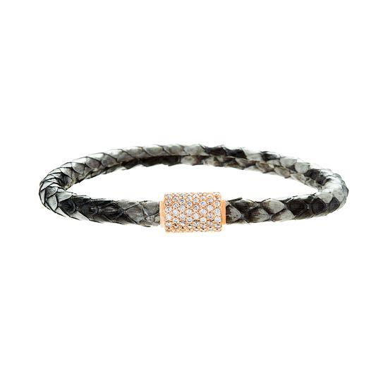Imagen de Sterling Silver Clear Cubic Zirconia Station Gray Snake Leather Bracelet