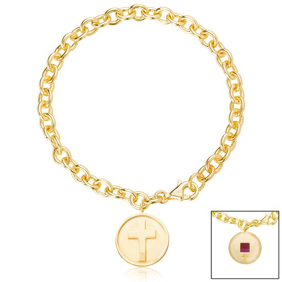 Imagen de Brass Cross Rolo Chain New Testament My Nano Bible Bracelet
