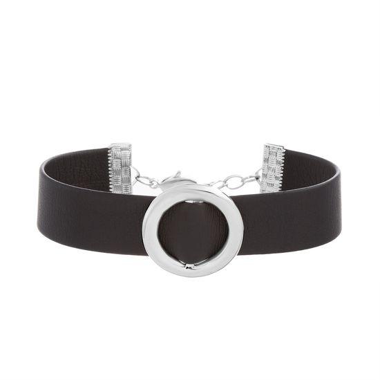 Imagen de Sterling Silver Circle Station Black Leather Bracelet