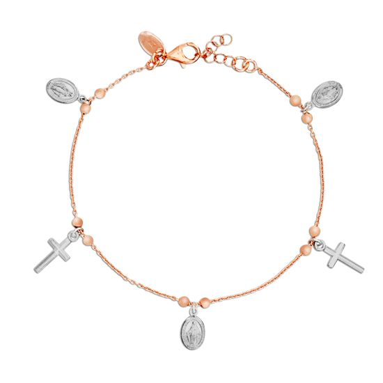 Imagen de Two-Tone Stainless Steel Cross & Virgin Mary Charm Beaded Bracelet