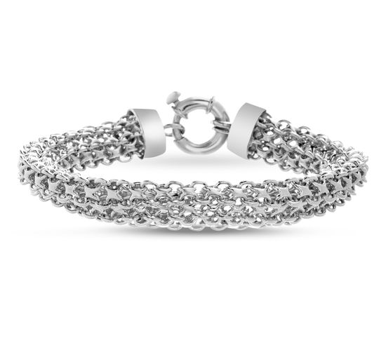 Picture of Sterling Silver Triple Strand Mesh Chain Bracelet