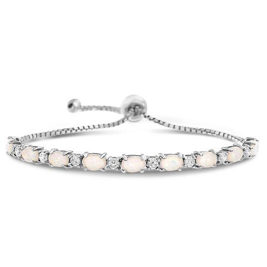Imagen de Cubic Zirconia & White Opal Slider Bracelet in Sterling Silver