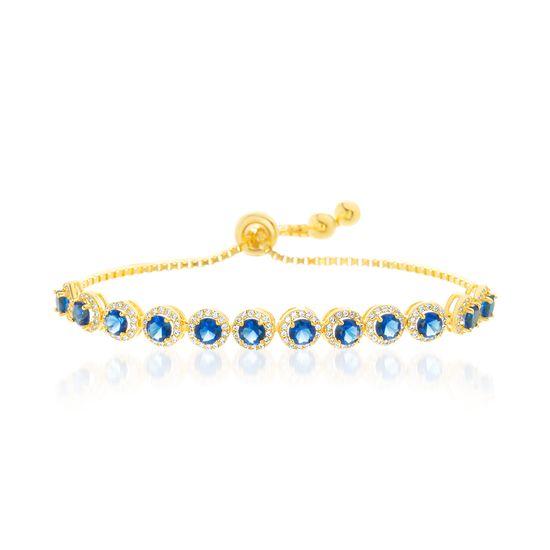 Imagen de Blue/Clear Cubic Zirconia 12 Bezel Adjustable Slider Bracelet in Gold over Sterling Silver