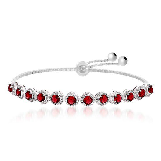 Imagen de Rhodium Plated Sterling Silver Center Red Glass Cubic Zirconia Border Box Chain Slider Bracelet