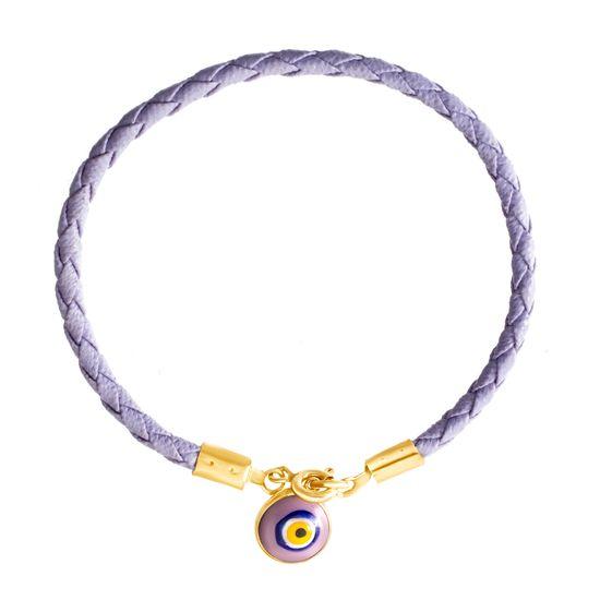 Imagen de E-Coat Sterling Silver Evil Eye Lavender Braided Leather Bracelet