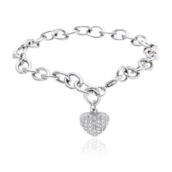 Imagen de Diamond Accent Heart Charm Cable Bracelet in Rhodium over Brass