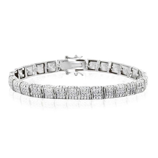 Imagen de Three Row Diamond Accent S-Link Tennis Bracelet in Rhodium over Brass