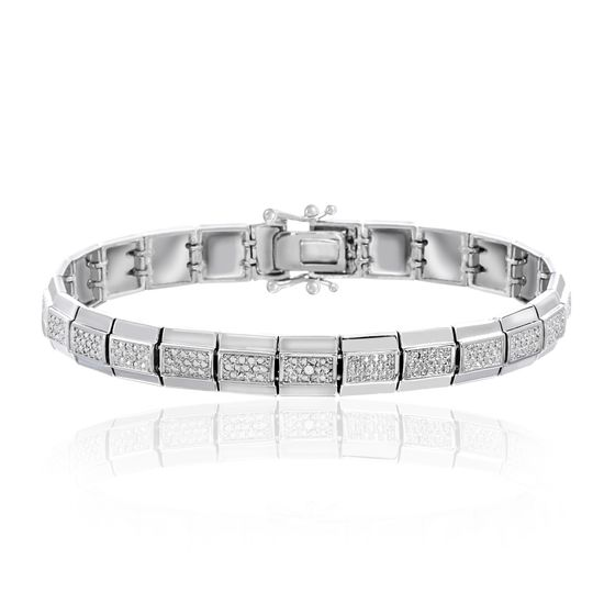 Imagen de Pave Set Diamond Accent Tennis Bracelet in Rhodium over Brass