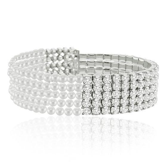 Imagen de Silver-Tone Brass Cubic Zirconia Border Multi Stranded Freshwater Pearl Bracelet
