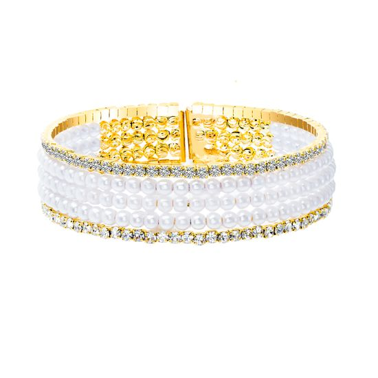 Imagen de Gold-Tone Brass Half Multi Stranded Cubic Zirconia and Freshwater Pearl Bracelet