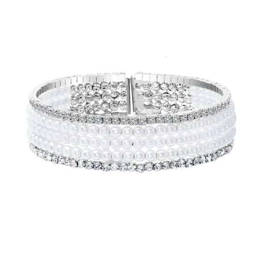 Imagen de Silver-Tone Brass Half Multi Stranded Cubic Zirconia and Freshwater Pearl Bracelet