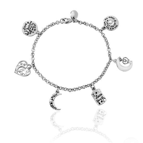 Imagen de Silver-Tone Brass Disc/Crescent/Heart Charm Rolo Chain Bracelet