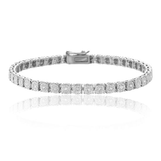 Imagen de Silver-Tone Brass 1/10 Carat Diamond Accent Tennis Bracelet