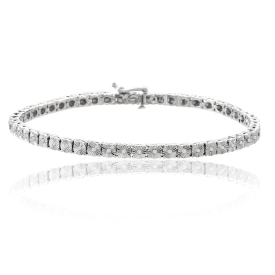 Imagen de Silver-Tone Brass Diamond Accent Tennis Bracelet