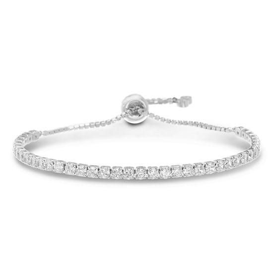 Imagen de Silver-Tone Brass Cz Bezel Tennis Bracelet