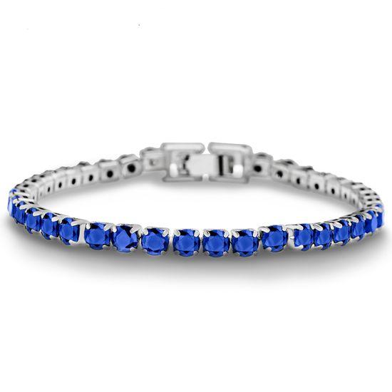 Imagen de Rhodium Plated Brass Blue Cubic Zirconia Tennis Bracelet