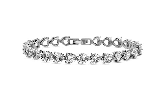 Picture of Silver-Tone Brass Cubic Zirconia Heart Link Bracelet