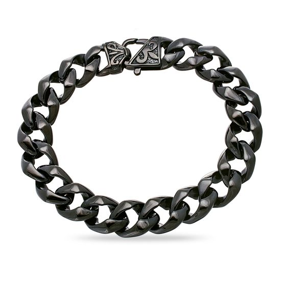 Imagen de Black-Tone Stainless Steel Men's 8 Curb Chain Bracelet