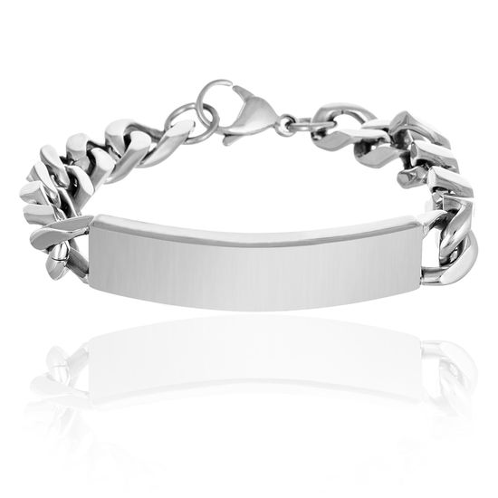 Picture of Silver-Tone Stainless Steel ID Plate Curb Chain Bracelet