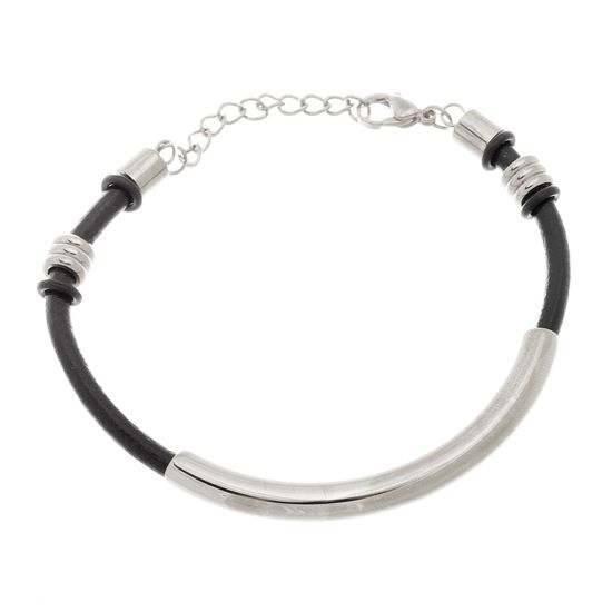 Imagen de Silver-Tone Stainless Steel Tube Leather Bracelet