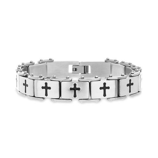 Imagen de Men's Two-Tone Stainless Steel Black Cross Link Bracelet