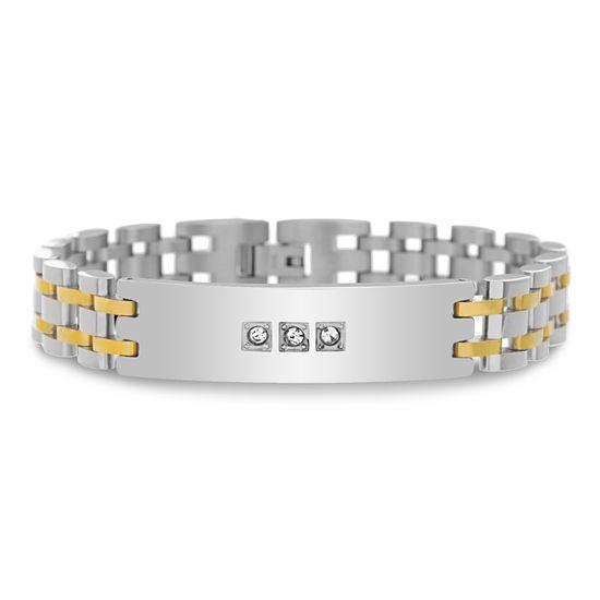 Imagen de Men's Two-Tone Stainless Steel IP Link andCubic Zirconia ID Bracelet