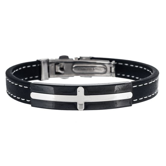 Imagen de Two-Tone Stainless Steel Stationed Cross Black Leather Bracelet