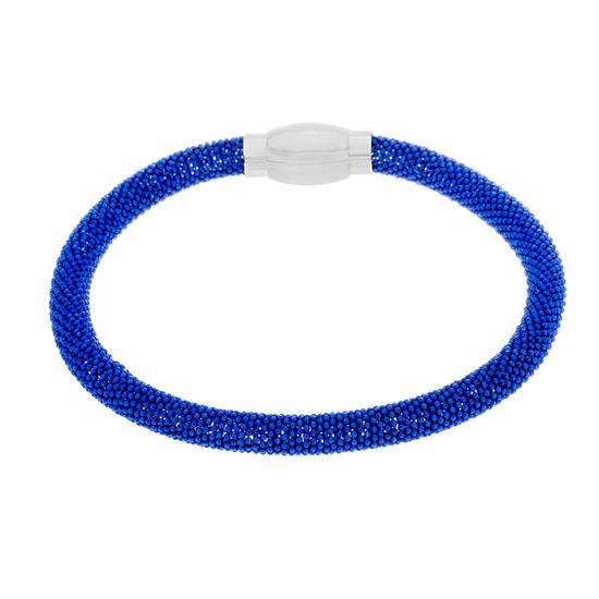 Imagen de Two-Tone Stainless Steel Blue Popcorn Mesh Bracelet