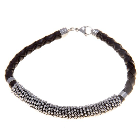 Imagen de Silver-Tone Stainless Steel Coiled Bead Chain Black Braided Leather Bracelet