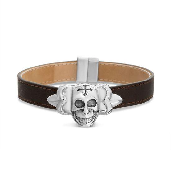 Imagen de Silver-Tone Stainless Steel Skull On Black Leather Braclet