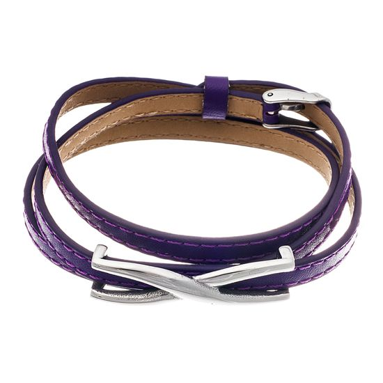 Imagen de Silver-Tone Stainless Steel X Slider Charms Purple Leather Wrap-Around  Bracelet