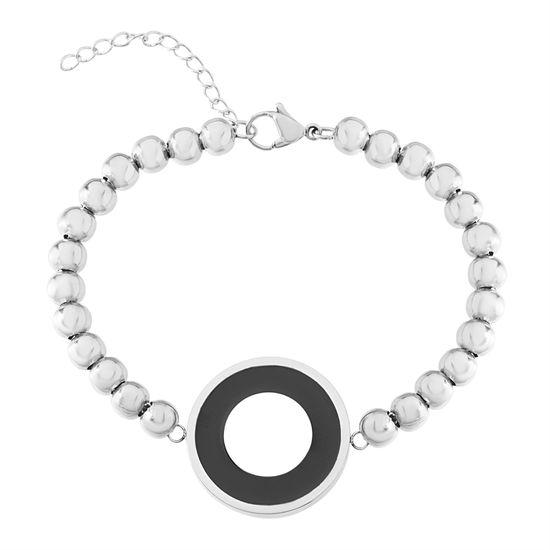 Imagen de Silver-Tone Stainless Steel Black Enamel Round Disc Charm Beaded Bracelet